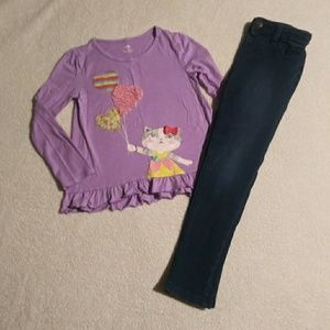 Cat & Jack outfit size 6/6x with kitty cat